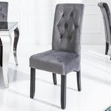 Edler Kolonial Stuhl Valentino Mit Nackenrolle Samt Grau Zierknöpfe Massivholz