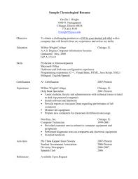 Chronological Resume Format Example Perfect Resume
