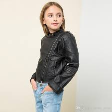 new fashion big girls pu coats leather children clothing girl s coat long sleeve zipper jacket high quality coats tops burdy black a7385