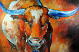 commissioned texas longhorn original oil painting by marcia baldwin