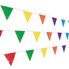 Pendant Banner Amazon Com Fun Express 100 Foot Multicolor Pennant Banner Toys Games