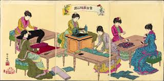 "mit visualizing cultures ""illustration of ladies sewing"" by adachi ginko 1887 11 18172 74 museum of"