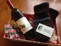 a gift basket will include two wine tour tickets a 25 gift card for ephraim ss white wine and wool mittens