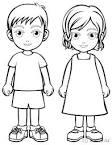 Раскраска с мальчиком и девочкой