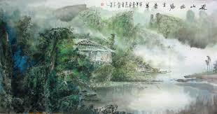 trees houses chinese painting