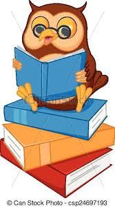 cute cartoon wise owl read a book csp24697193
