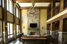 adirondack antler chandelier rustic living room with loft restoration hardware antler three tier chandelier stone chandeliers