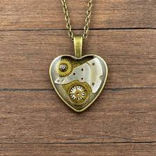steampunk pendant steampunk necklace heart pendant heart necklace watch parts pendant watch parts necklace antique brass pendant by nestrejewellery