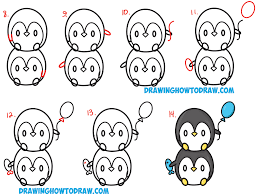learn how to draw cute kawaii chibi baby penguins stacked from numbers with simple