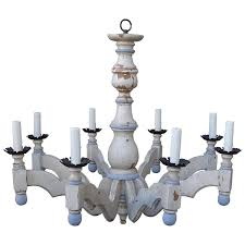 eight light blue and cream chandelier by paul ferrante