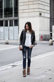 federica l is cute and casual in this leather jacket style which consists of distressed grey denim