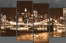 brown sepia new york 4 panel nyc canvas wall art pictured new york in night with  on canvas wall art new york city with wall art best idea nyc canvas wall art new york city wall decor