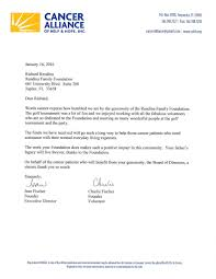 You Letter Thank You Letter From Cancer Alliance Rendina Family