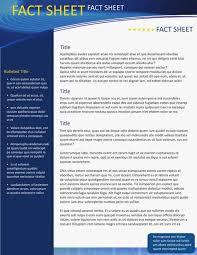 Fact Sheet Template Glendale Community Document Template