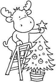 Kleurplaat Rendier Met Kerstboom V Manualidades Navidad