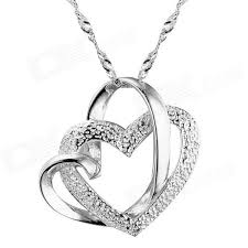 equte psiw23c1 fashionable heart shaped pendant necklace for women silver