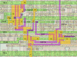 6502 architecture. the overflow circuit in 6502 at silicon level diffusion layer is yellow architecture