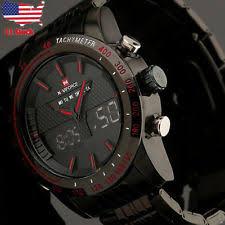 mens military watches fashion men s sport led watch black hot stainless steel quartz analog wristwatch