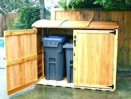 architecture outdoor garbage storage outside trash can holder half moon inside decorations 7 shed rack plans wicker mocha trash can