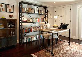 Vintage office decorating ideas Rustic Vintage Office Decorating Ideas Home Office With Vintage Bookshelves And Small Table On Wheels Also White Doragoram Vintage Office Decorating Ideas Home Office With Vintage Bookshelves