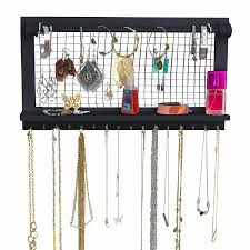 socal ercup espresso jewelry organizer with removable bracelet rod from wooden wall mounted holder for earrings