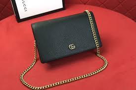 gucci 497985 gg marmont leather mini chain bags black