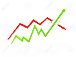 Arrow Chart Two Arrow Chart Of Financial On White Background