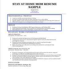 Work Resume Example Unique StayAtHome Mom Resume Sample Writing Tips Resume Companion