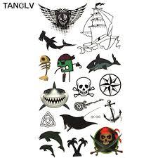 Tanglv брендовая временная 3d татуировка искусство тела акула рыба