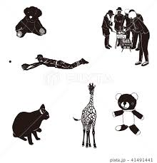 動物人物可愛い系シルエットのイラスト素材 41491441 Pixta