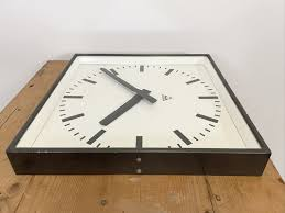 large dark grey square wall clock from