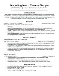 Accounting Internship Resume Sample Marketing Intern Resume Sample Magnificent Resume Objective Tips