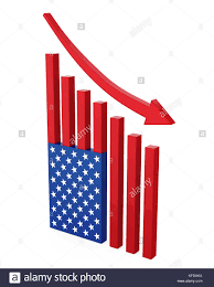 Chart American Flag With Arrow Down Stock Photo 164419470
