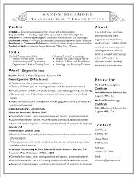 Standard Resume Format Simple Medical Transcription Resume Samples Medical Transcription Resume