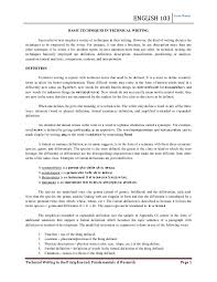 Research Paper Terms English 103 Basic Techniques In Technical Writing Fernando