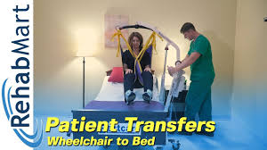 how to use a hoyer patient lift to transfer a patient from their wheelchair to a bed