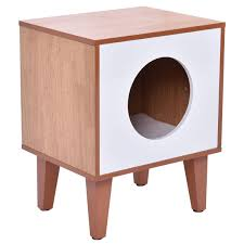 tangkula cat box cushion bed cleaning enclosure pet cabinet furniture wood b01hjkbhku