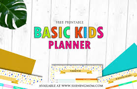 Printable Kids Free Printable Kids Planner Cute And Colorful