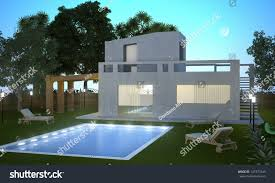 home swimming pools at night. Modern House With Swimming Pool In Night Vision Home Pools At