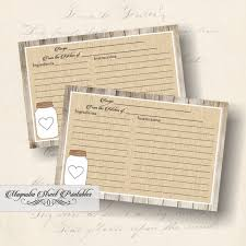 Where To Buy Recipe Cards In Stores Printable Rustic Mason Jar Recipe Card 4 X 6 Burlap And