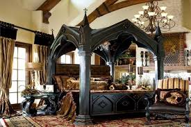 Gothic Bedroom Decor With Canopy Bed And Wallpaper Benches