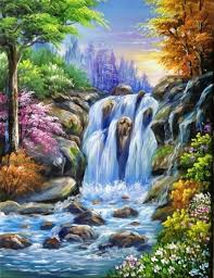 painting lessons canvas paintings waterfalls free personals acrylic art tutorials acrylics painted canvas waterfall