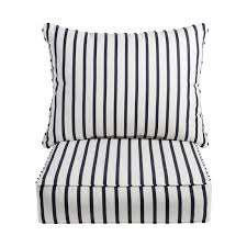stripe 2 piece indoor outdoor sunbrella lounge chair cushion set