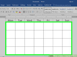 Calander Word How To Make A Calendar In Word With Pictures Wikihow