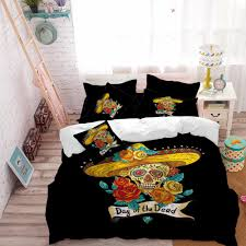 golden sugar skull bedding set flowers straw hat duvet cover king queen bed sheet pillow case day of the dead bedclothes d45 black and white duvet comforter