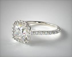 halo shank diamond engagement ring cushion 14k white gold