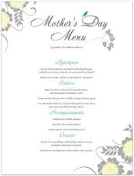 Mother S Day Menu Template Mothers Day Menu Template Word Bisatuh