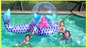 pools for kids.  Kids FUN At The Swimming Pool  Kids Video For Playing In Water With LOL  Confetti Pop Floaty Throughout Pools For S