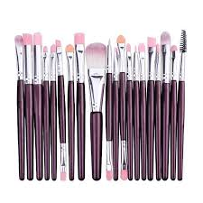 20pcs estic makeup brushes set purple silver