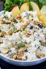 On your next bbq party, make sure to try this delicious maionese de batata. Creamy Potato Salad With Apples Raisins And Walnuts Olivia S Cuisine Potato Salad With Apples Creamy Potato Salad Potato Salad Recipe With Apples